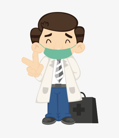 雾霾口罩_医生戴口罩卖萌png素材-90设计图片