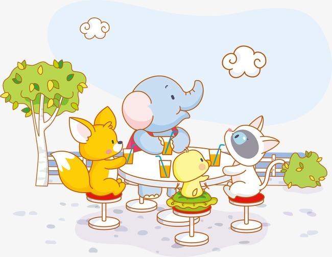 卡通小动物聚餐矢量图