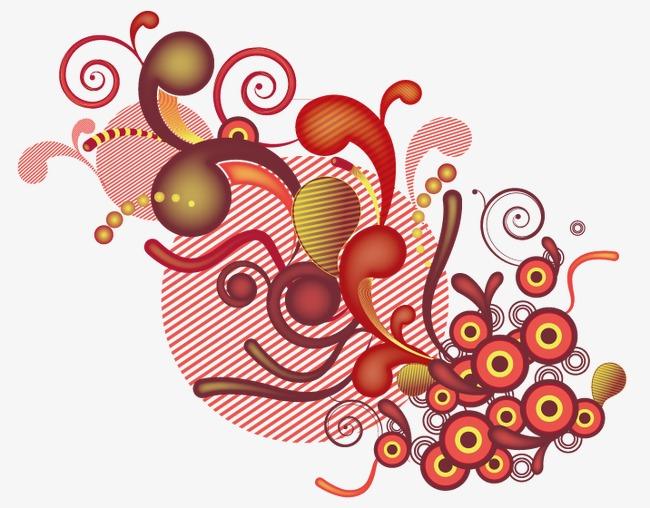 卡通圆形水滴形线条装饰图案