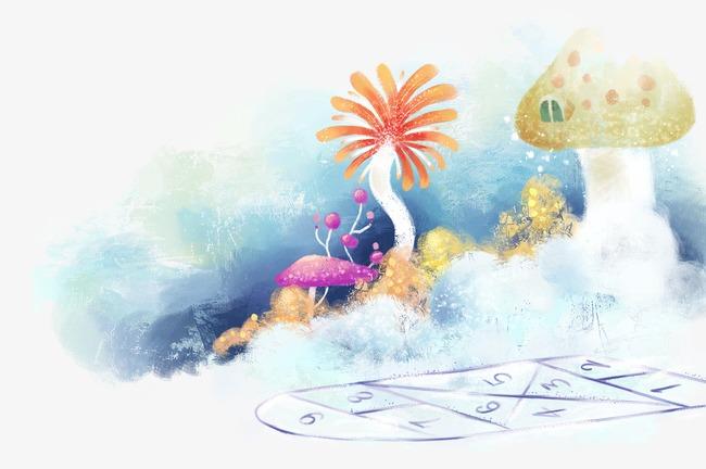 手绘冬天背景冬天雪景卡通冬天素材景色-手绘冬天背景素材图片免费