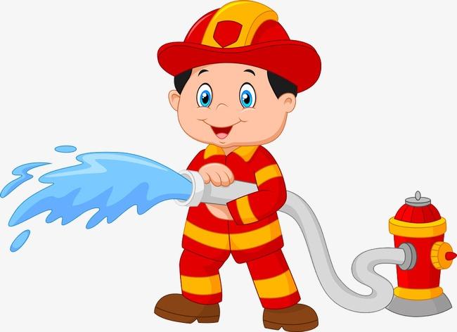 90设计提供高清png手绘动漫素材免费下载,本次拿着水带的消防员图片