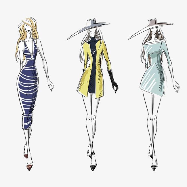 手绘时尚服装模特