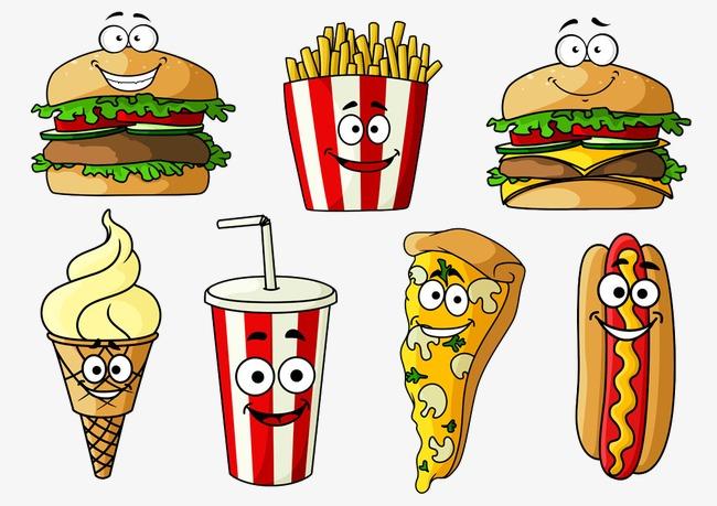 卡通汉堡和薯条图片