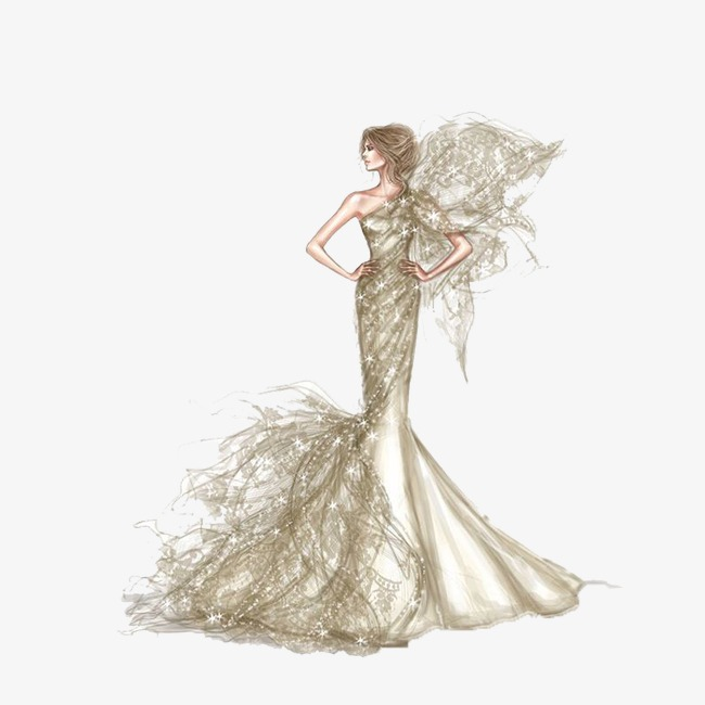 手绘鱼尾礼服婚纱