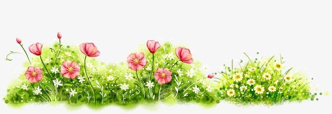 花丛 花草 手绘花朵             此素材是90设计网官方设计出品,均