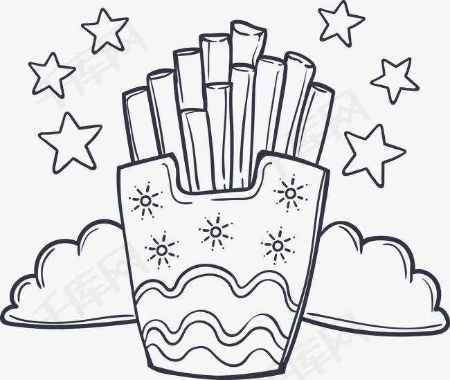 手绘薯条手绘薯条零食黑色薯条简笔画
