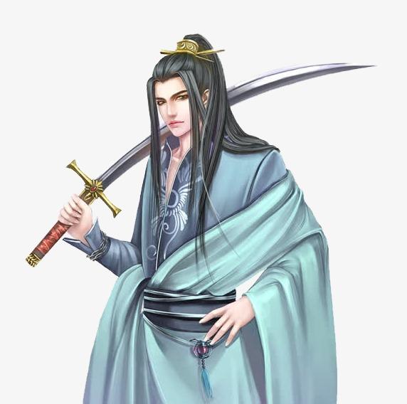 手绘 长袍 剑 男 古装 古代 中国风 插画 背剑免扣素材