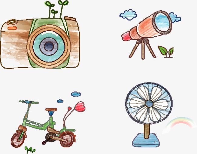 手绘望远镜相机自行车风扇