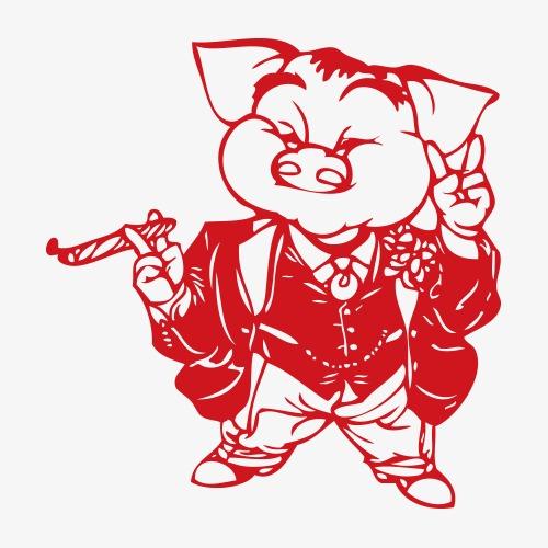 小猪十二生肖剪纸