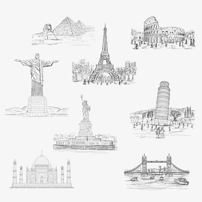 8款手绘世界著名建筑矢量图下载
