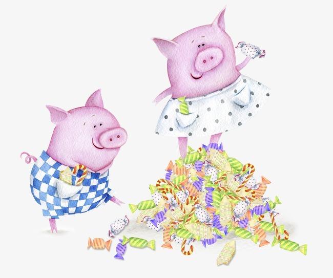 手绘猪 水彩动物粉色猪可爱猪 糖果免扣素材