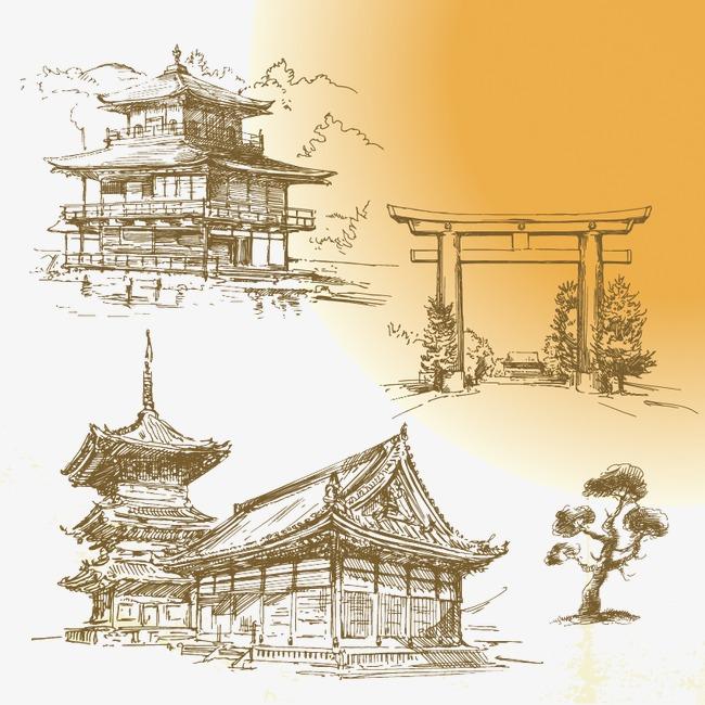 3款手绘古代建筑矢量素材