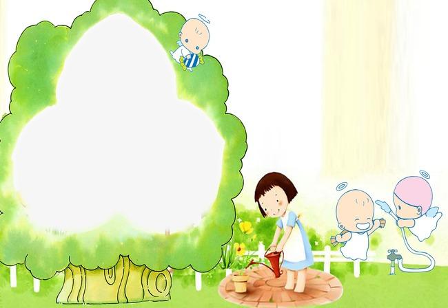 树边框卡通儿童成长相册模板