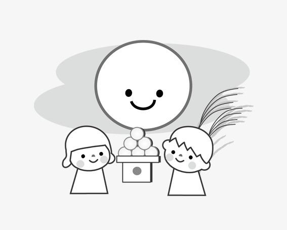 卡通娃娃赏月图片
