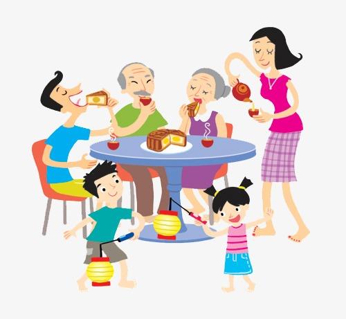 手绘中秋节中秋中秋节中秋团圆中秋团圆节团圆节一家人月饼和和睦