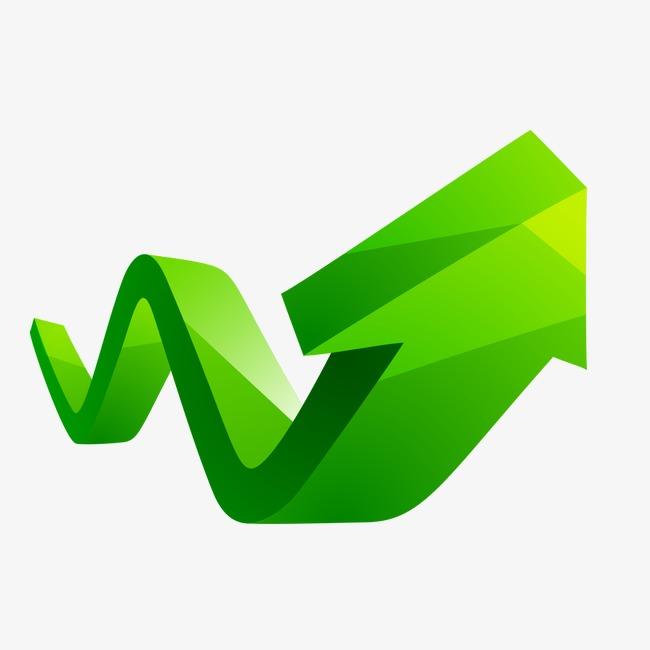 立体绿色箭头ppt素材