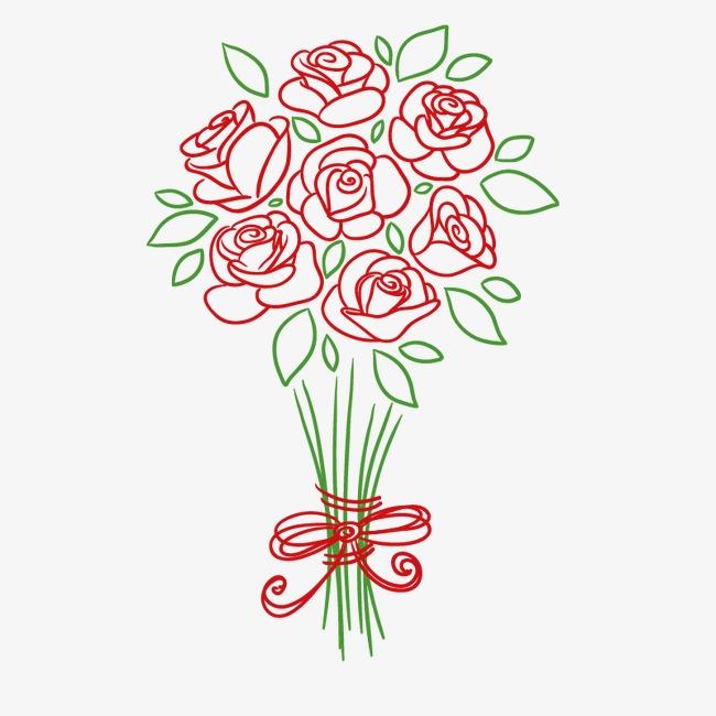 手绘红玫瑰花束手绘玫瑰花矢量