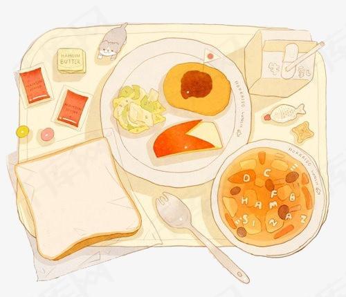 手绘早餐手绘早餐面包水果餐点