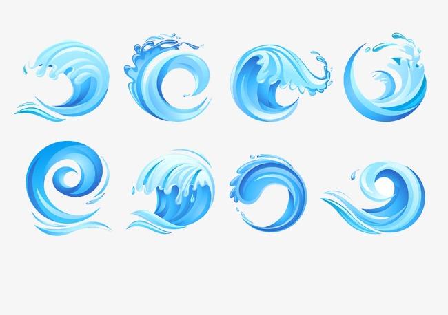 蓝色浪花png素材-90设计