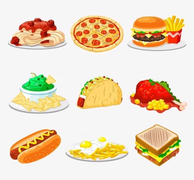扁平化卡通面包蛋糕披萨图片