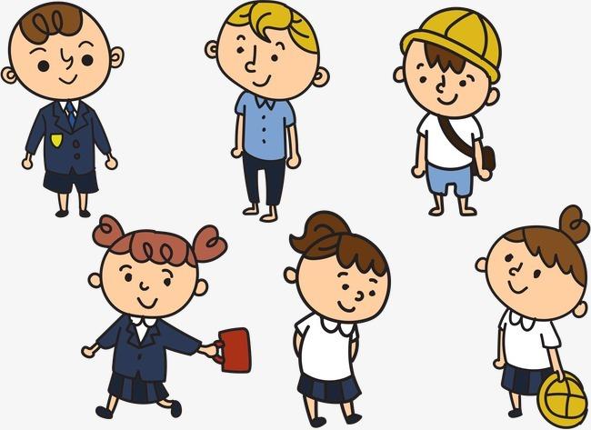 简笔画小学生非卡通人物png素材-90设计图片