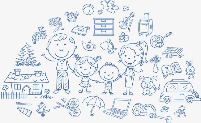 孩子手绘  家庭  时尚人物  可爱宝宝  快乐儿童   矢量人物背景