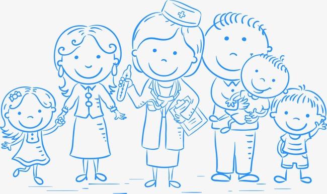 关爱儿童健康矢量手绘线条素材
