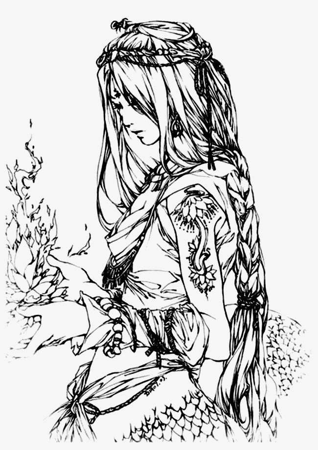 古风女子手绘线稿素材