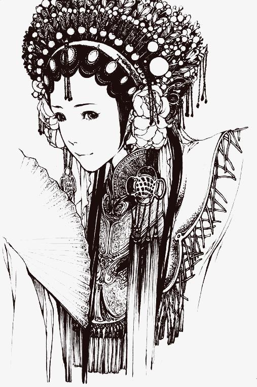 古风戏子人物手绘黑白图
