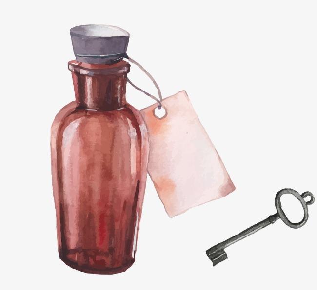 水彩手绘瓶子钥匙