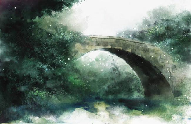 唯美古风手绘插画桥梁中国风彩色水墨画水彩画风景落花流水山清水秀