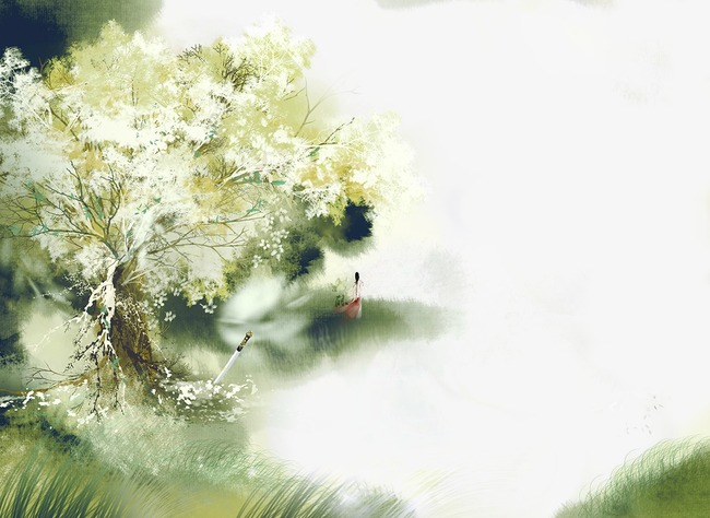 唯美古风手绘插画唯美风景中国风彩色水墨画水彩画风景落花流水山