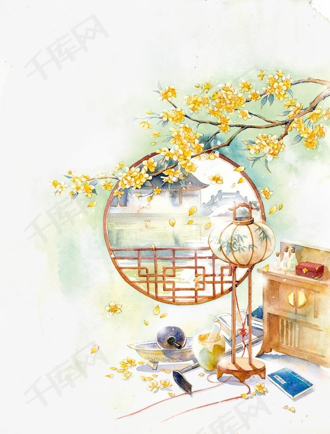 唯美古风手绘插画古代窗户中国风彩色水墨画水彩画风景落花流水山图片