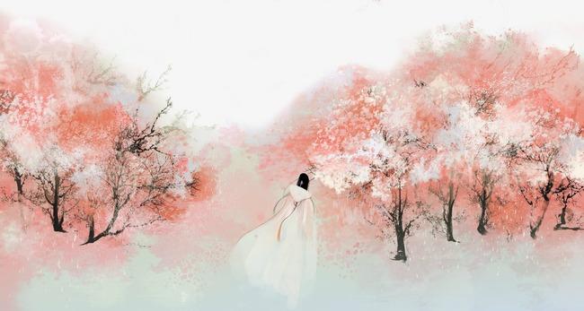 唯美古风手绘插画樱花树树林中国风彩色水墨画水彩画风景落花流水