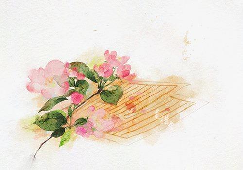 唯美古风手绘插画古代卷轴中国风彩色水墨画水彩画风景落花流水山