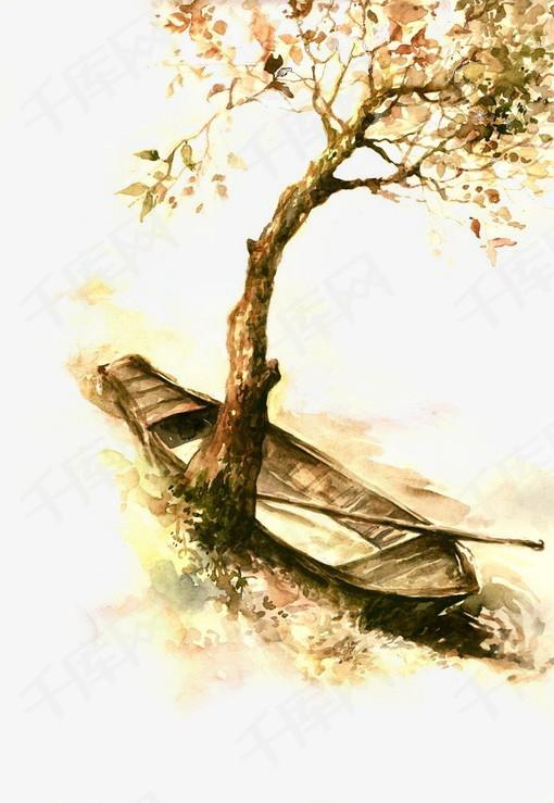 唯美古风手绘插画停泊的周中国风彩色水墨画水彩画风景落花流水山