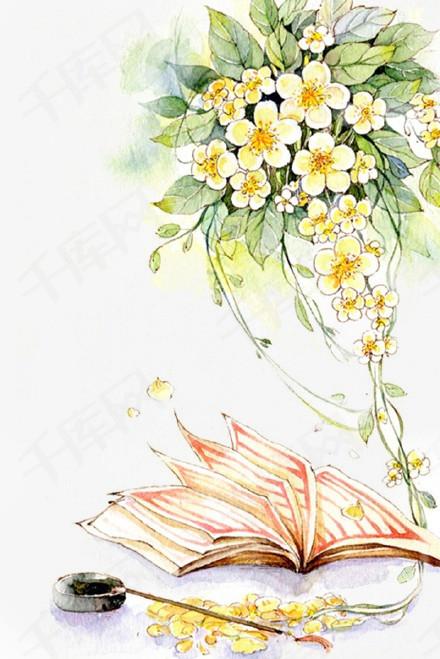 唯美古风手绘插画黄色花卉中国风彩色水墨画水彩画风景落花流水山