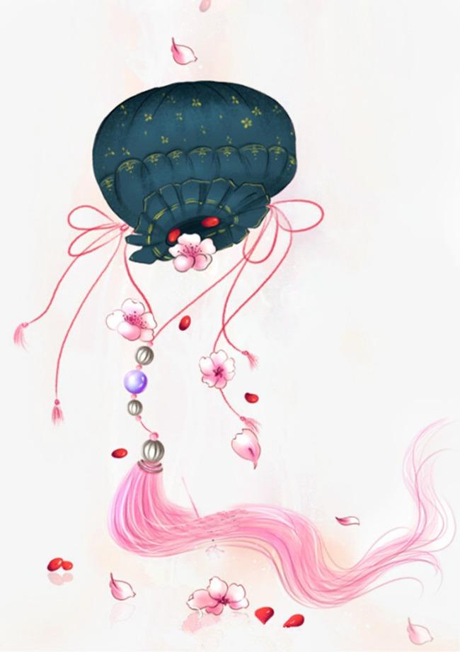 唯美古风手绘插画香囊锦囊中国风彩色水墨画水彩画风景落花流水山