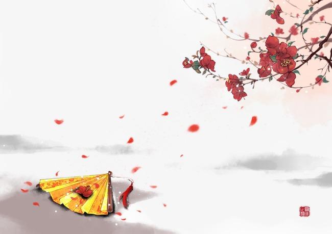 唯美古风手绘插画折扇纸扇中国风彩色水墨画水彩画风景落花流水山