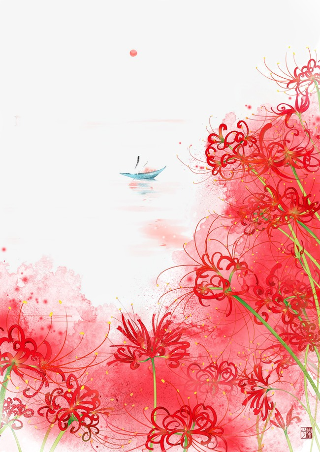 唯美古风手绘插画湖面小周一叶轻舟中国风彩色水墨画水彩画风景落花