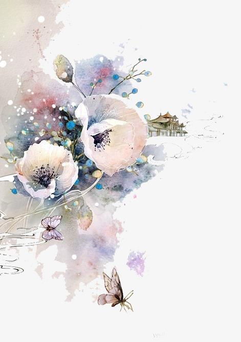 唯美古风手绘插画水彩花卉中国风彩色水墨画水彩画风景落花流水山图片