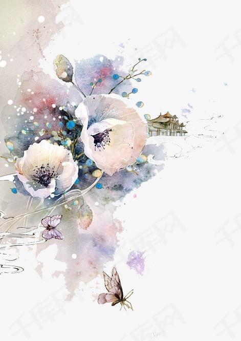 唯美古风手绘插画水彩花卉中国风彩色水墨画水彩画风景落花流水山