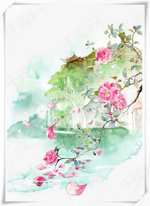 唯美古风手绘插画古代书卷水墨丹青中国风彩色水墨画水彩画风景落花