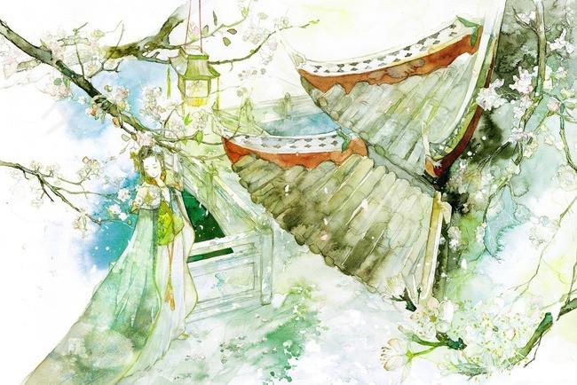 唯美古风手绘插画水墨亭台阁楼中国风彩色水墨画水彩画风景落花流水
