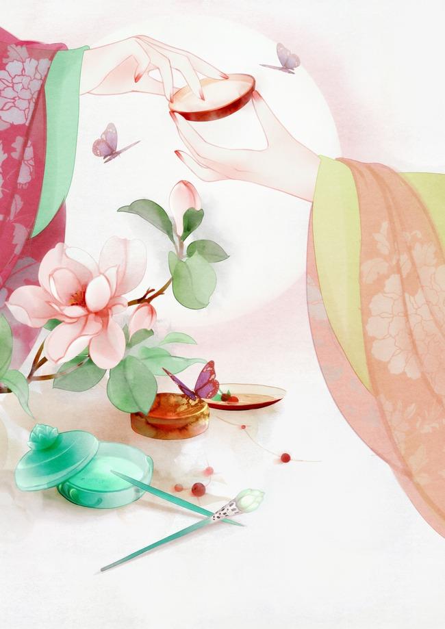 唯美古风手绘插画宫廷女子宫女娘娘中国风彩色水墨画水彩画风景落花图片