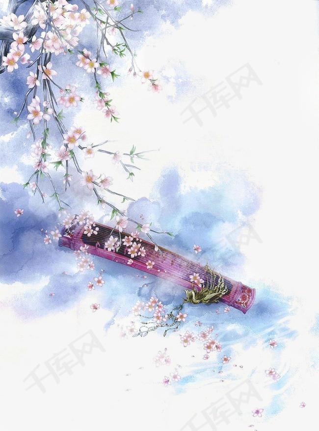 唯美古风手绘插画抚琴中国风彩色水墨画水彩画风景落花流水山清水秀