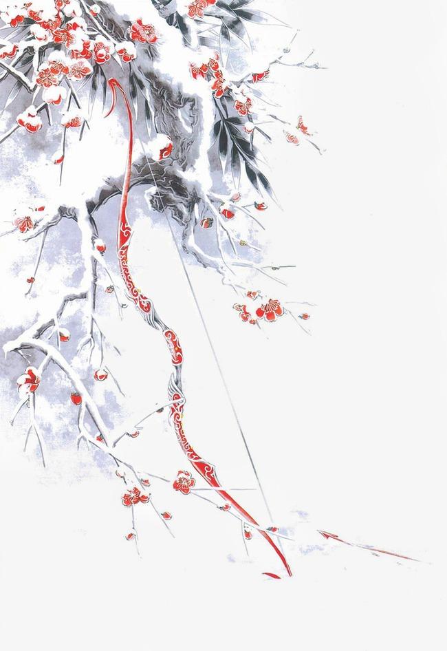 唯美古风手绘插画冬天树枝弓箭中国风彩色水墨画水彩画风景落花流水