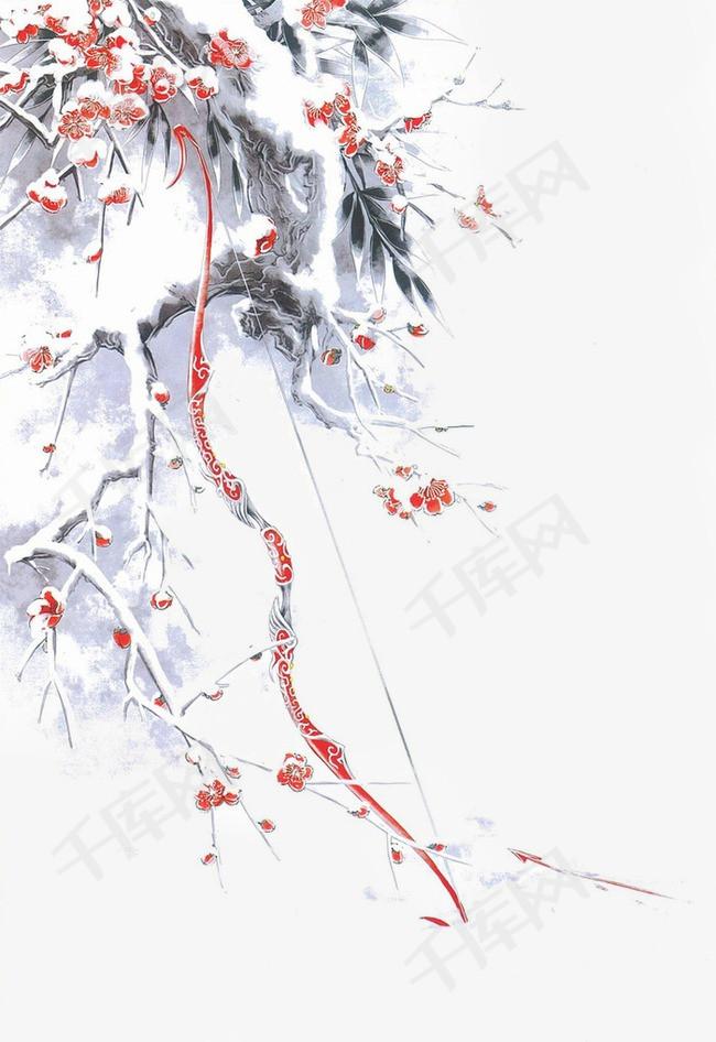 唯美古风手绘插画冬天树枝弓箭中国风彩色水墨画水彩画风景落花流水图片