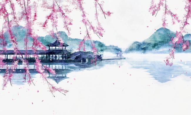 唯美古风手绘插画水墨丹青湖面亭台中国风彩色水墨画水彩画风景落花