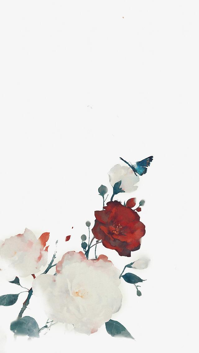 唯美古风手绘插画中国风彩色水墨画水彩画风景落花流水山清水秀古风图片